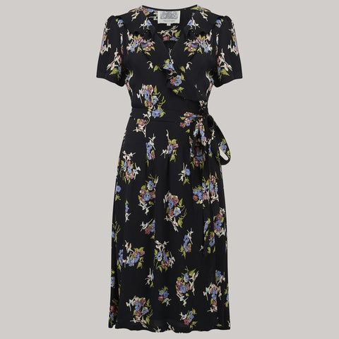 """Peggy Ruffle"" Wrap Dress In Black Floral, Classic 1940s True Vintage Style - RocknRomance True 1940s & 1950s Vintage Style"