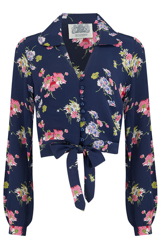 "The Seamstress Of Bloomsbury ""Clarice"" Blouse in Navy Blue Mayflower , Classic 1940s Vintage Inspired Style - RocknRomance Clothing"