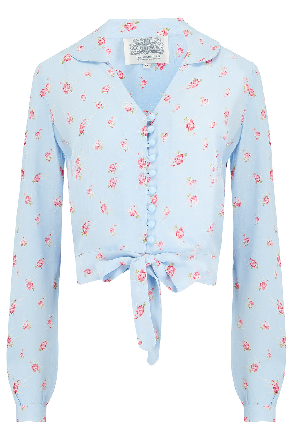 "The Seamstress Of Bloomsbury ""Clarice"" Blouse in Powder Blue Rose Print , Classic 1940s Vintage Inspired Style - RocknRomance Clothing"