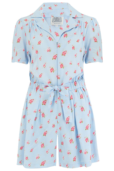 The Seamstress Of Bloomsbury Emma Play suit In Powder Blue Rose by The Seamstress of Bloomsbury, Classic 1940s Vintage Style - RocknRomance Clothing