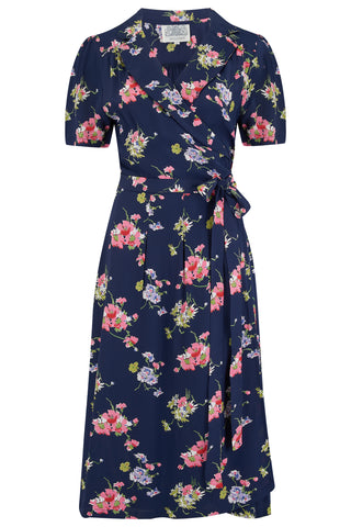 "The Seamstress of Bloomsbury ""Peggy"" Wrap Dress in Navy Mayflower, Classic 1940s Vintage Style - RocknRomance Clothing"