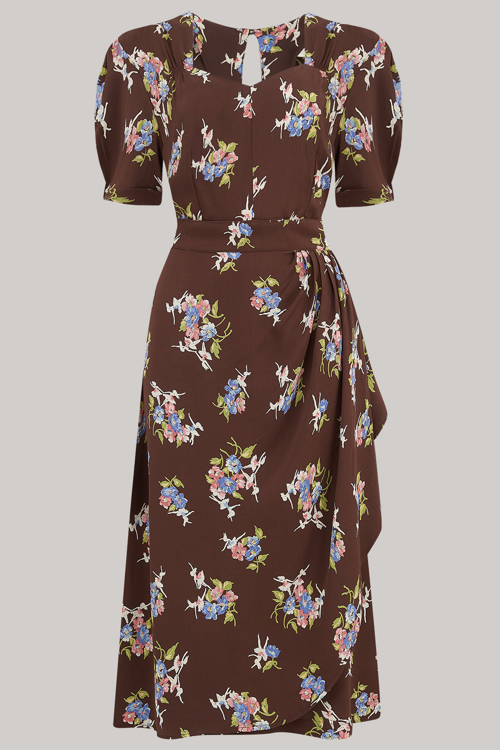 Shelly Dress in Brown Floral, A Classic 1940s Inspired wiggle dress, True Vintage Style - RocknRomance True 1940s & 1950s Vintage Style