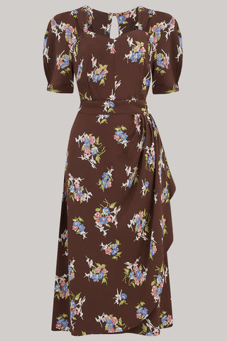 The Seamstress of Bloomsbury Shelly Dress in Brown Floral, A Classic 1940s Inspired wiggle dress, True Vintage Style - RocknRomance Clothing