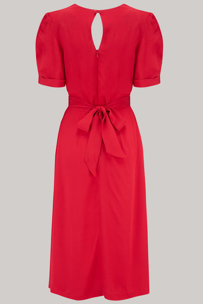 The Seamstress of Bloomsbury Shelly Dress in 40s Red, A Classic 1940s Inspired wiggle dress, True Vintage Style - RocknRomance Clothing