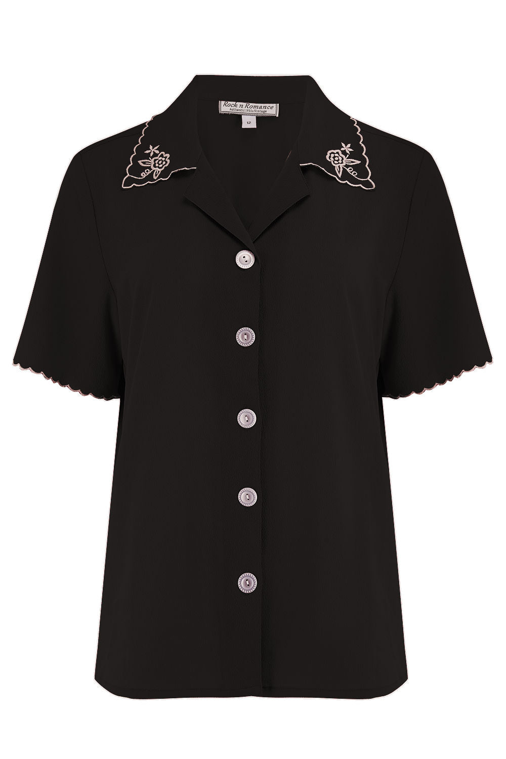 "Rock n Romance **Pre-Order** The ""Shirley"" Embroidered Blouse in Black, Stunning True Vintage Style - RocknRomance Clothing"
