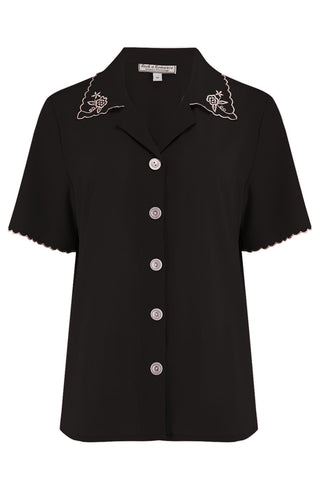 "The ""Shirley"" Embroidered Blouse in Black, Stunning True Vintage Style - RocknRomance True 1940s & 1950s Vintage Style"