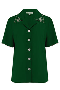 "Rock n Romance The ""Shirley"" Embroidered Blouse in Green, Stunning True Vintage Style - RocknRomance Clothing"