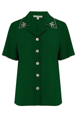 "The ""Shirley"" Embroidered Blouse in Green, Stunning True Vintage Style - RocknRomance True 1940s & 1950s Vintage Style"