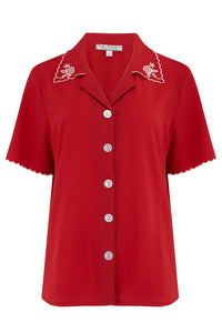 "Rock n Romance **Pre-Order** The ""Shirley"" Embroidered Blouse in Red, Stunning True Vintage Style - RocknRomance Clothing"