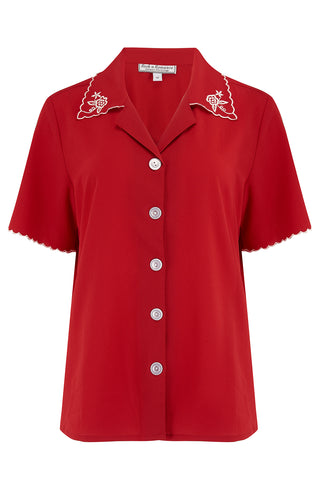 "Rock n Romance The ""Shirley"" Embroidered Blouse in Red, Stunning True Vintage Style - RocknRomance Clothing"