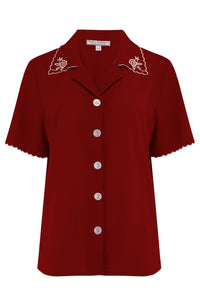 "Rock n Romance The ""Shirley"" Embroidered Blouse in Wine, Stunning True Vintage Style - RocknRomance Clothing"