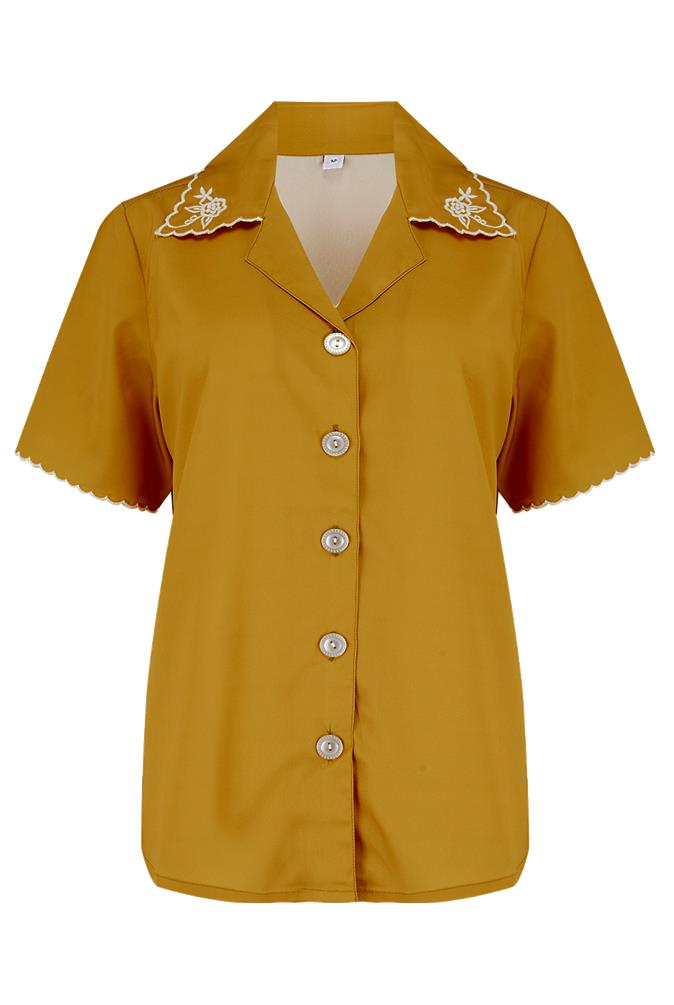 "The ""Shirley"" Embroidered Blouse in Mustard, Stunning True Vintage Style - RocknRomance True 1940s & 1950s Vintage Style"