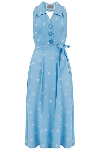 "The Seamstress Of Bloomsbury ""Elizabeth"" Halter Dress in Sky Blue with Bow Print, Classic & Authentic 1940s Vintage Style - RocknRomance Clothing"