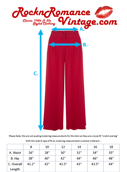 "Rock n Romance The ""Sophia"" Plazzo Wide Leg Trousers in Red, Easy To Wear Vintage Inspired Style - RocknRomance Clothing"