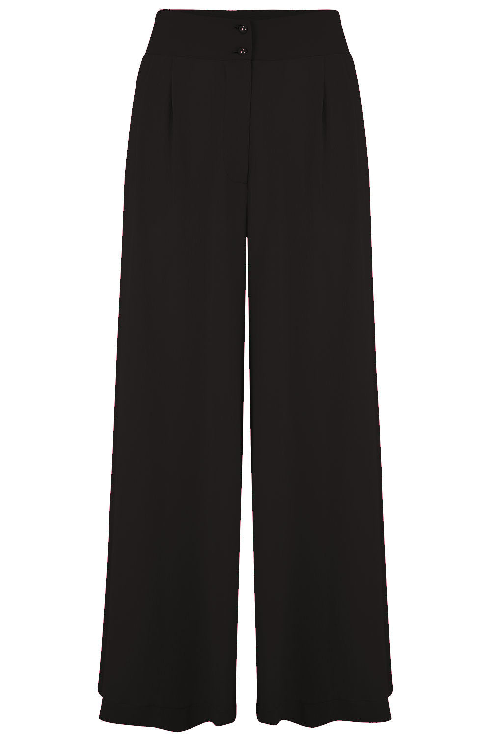 "Rock n Romance The ""Sophia"" Plazzo Wide Leg Trousers in Black, Easy To Wear Vintage Inspired Style - RocknRomance Clothing"