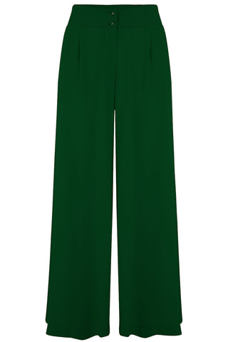 "Rock n Romance **Pre-Order** The ""Sophia"" Plazo Wide Leg Trousers in Green, Easy To Wear Vintage Inspired Style - RocknRomance Clothing"