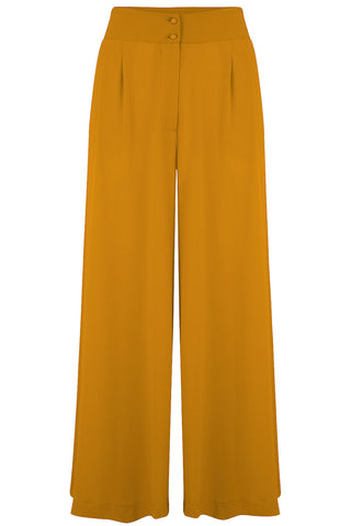 "Rock n Romance The ""Sophia"" Plazo Wide Leg Trousers in Mustard, Easy To Wear Vintage Inspired Style - RocknRomance Clothing"