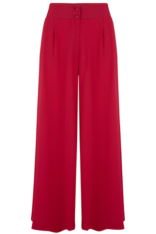 "Rock n Romance **Pre-Order** The ""Sophia"" Plazo Wide Leg Trousers in Red, Easy To Wear Vintage Inspired Style - RocknRomance Clothing"