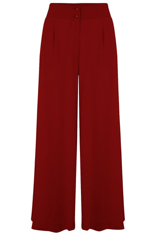 "Rock n Romance **Pre-Order** The ""Sophia"" Plazo Wide Leg Trousers in Wine, Easy To Wear Vintage Inspired Style - RocknRomance Clothing"