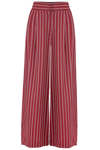 "Rock n Romance The ""Sophia"" Plazo Wide Leg Trousers in Maroon Dotty Stripe, Easy To Wear Vintage Inspired Style - RocknRomance Clothing"