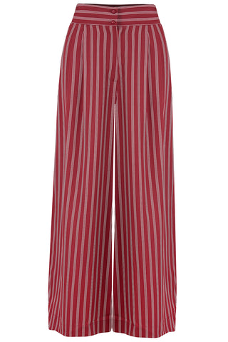 "Rock n Romance **Sample Sale** The ""Sophia"" Plazzo Wide Leg Trousers in Maroon Dotty Stripe, Easy To Wear Vintage Inspired Style - RocknRomance Clothing"