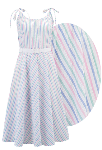 "Rock n Romance ""Suzy"" Sun Dress in Pastel Stripe Cotton Seersucker, Authentic 1950s Vintage Style - RocknRomance Clothing"