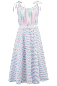 "**Limited Edition** ""Suzy Sun Dress"" in Pastel Stripe Cotton Seersucker, Authentic 1950s Vintage Style, New For SS19"