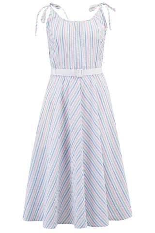 "Rock n Romance **Sample Sale** ""Suzy Sun Dress"" in Pastel Stripe Cotton Seersucker, Authentic 1950s Vintage Style - RocknRomance Clothing"