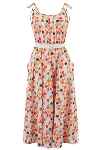 "Rock n Romance ""Suzy"" Sun Dress in Bubblegum Print, Authentic 1950s Vintage Style - RocknRomance Clothing"