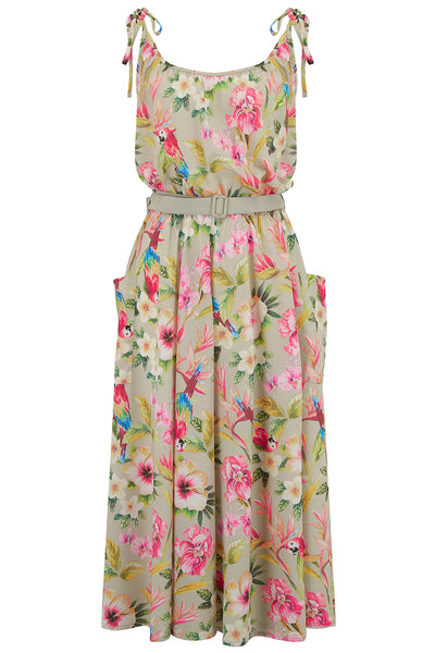 """Suzy Sun Dress"" in Paradise Print, Authentic 1950s Vintage Style, New For SS19"