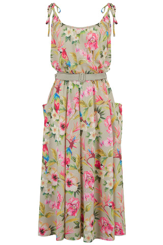 "Rock n Romance ""Suzy"" Sun Dress in Paradise Print, Authentic 1950s Vintage Tiki Style - RocknRomance Clothing"