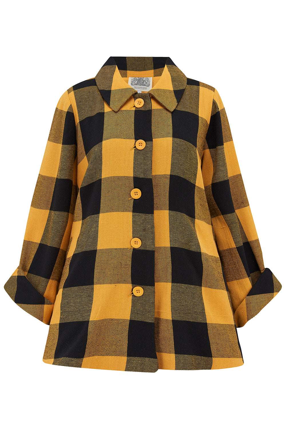 1940s Coats & Jackets Fashion History Classic 1940s Swagger Jacket in Mustard  Black Check Vintage Cape Style Inspired Over Coat £89.00 AT vintagedancer.com