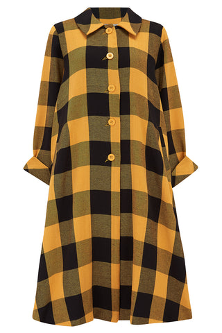 The Seamstress Of Bloomsbury Classic 1940's Swagger Coat, in Mustard & Black Check Vintage Cape Style Inspired Over Coat - RocknRomance Clothing