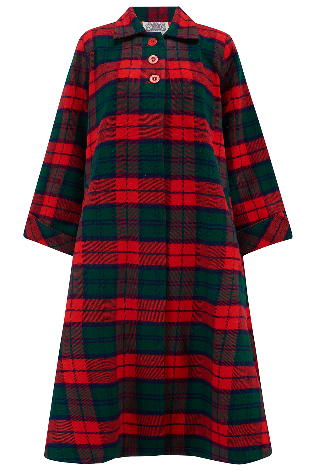 1940s Coats & Jackets Fashion History Swing Coat in Tradition Red  Green Tartan check Vintage 1940s Cape Style Inspired Over Coat £165.00 AT vintagedancer.com