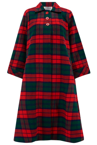 The Seamstress Of Bloomsbury Swing Coat in Tradition Red & Green Tartan check, Vintage 1940s Cape Style Inspired Over Coat - RocknRomance Clothing