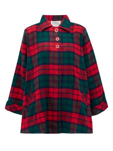 Swing Jacket in Green & Red Check by The Seamstress of Bloomsbury, Vintage 1940s Cape Style Inspired