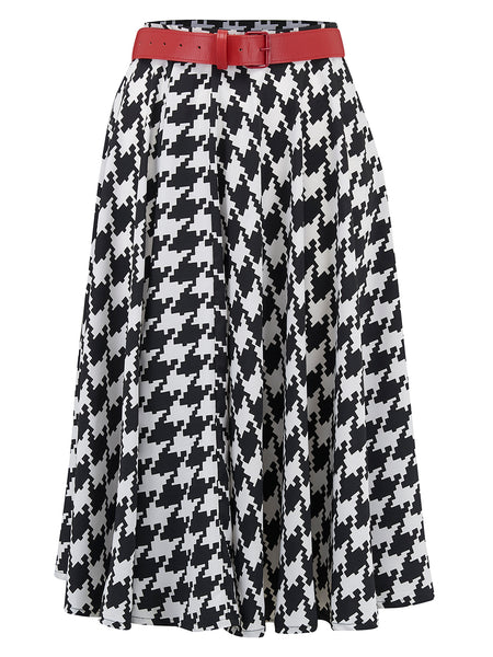 """Swing Skirt"" in Large Black Hounds Tooth, Authentic 1950s Vintage RocknRoll Style"