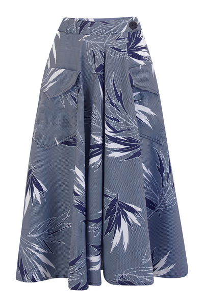 "Rock n Romance **Pre-Order** The ""Swing Skirt"" with Pockets in Blue Maple Print, Authentic 1950s Vintage Style - RocknRomance Clothing"