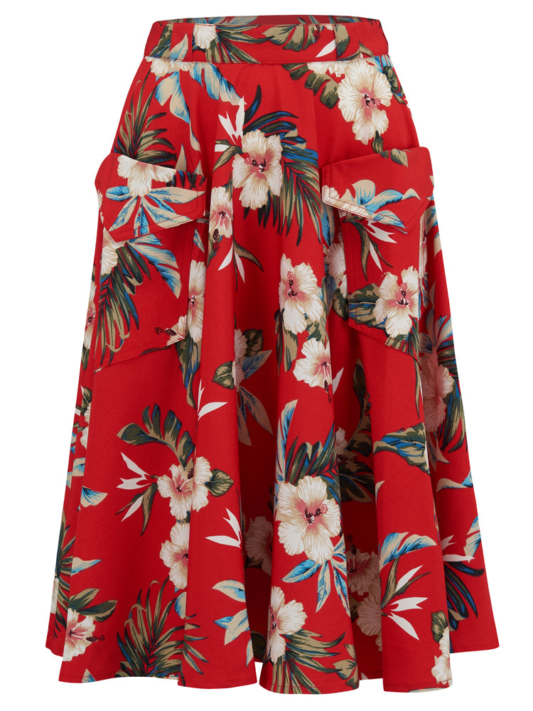 """Swing Skirt"" with Pockets in Red Hawaiian Print, Authentic 1950s Tiki Vintage Style"