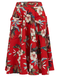 "Rock n Romance ""Swing Skirt"" with Pockets in Red Hawaiian Print, Authentic 1950s Tiki Vintage Style - RocknRomance Clothing"