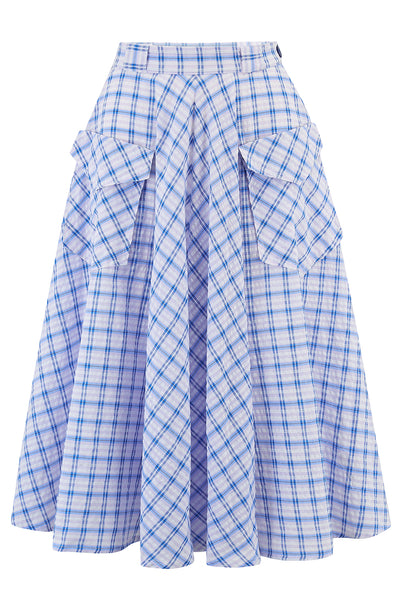 "**Limited Edition** ""Swing Skirt"" with Pockets in Blue Check Cotton Seersucker, Authentic 1950s Vintage Style New for SS19"