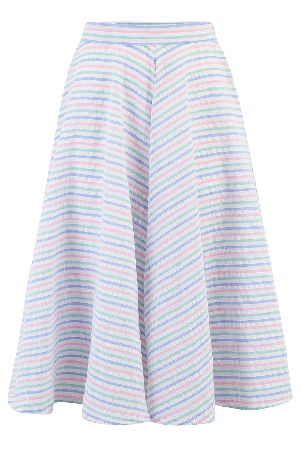 "Rock n Romance **Sample Sale** ""Swing Skirt"" in Pastel Stripe Cotton Seersucker, Authentic 1950s Vintage Style - RocknRomance Clothing"