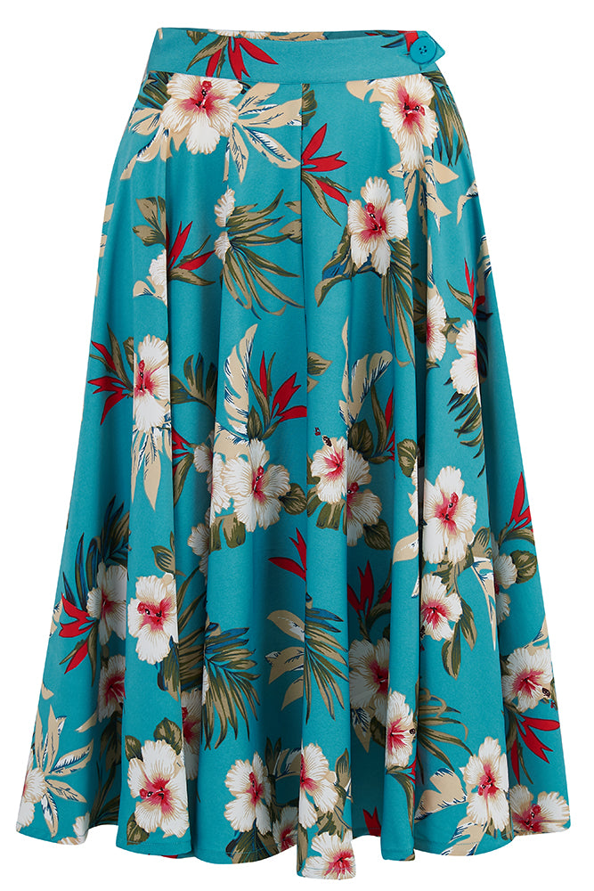 Retro Tiki Dress – Tropical, Hawaiian Dresses Pre-Order The Swing Skirt with Pockets in Teal Hawaiian Print Authentic 1950s Vintage Tiki Style £35.00 AT vintagedancer.com