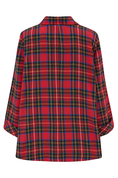 The Seamstress Of Bloomsbury Swing Jacket in Red Tartan Check , Vintage 1940s Cape Style Inspired Over Coat - RocknRomance Clothing