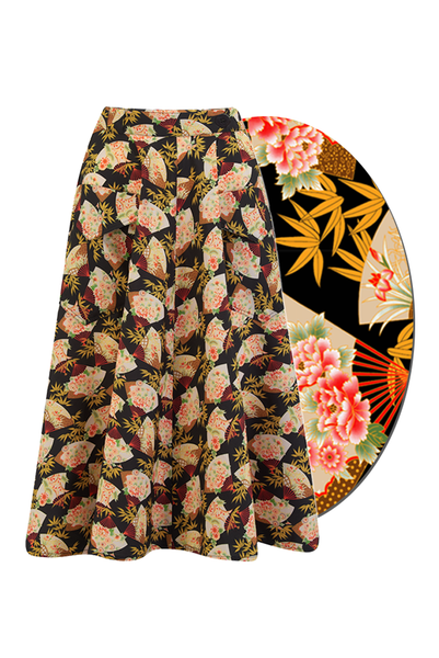"Rock n Romance ""Swing Skirt"" in Japanese Fan Print, Authentic 1950s Vintage Style - RocknRomance Clothing"