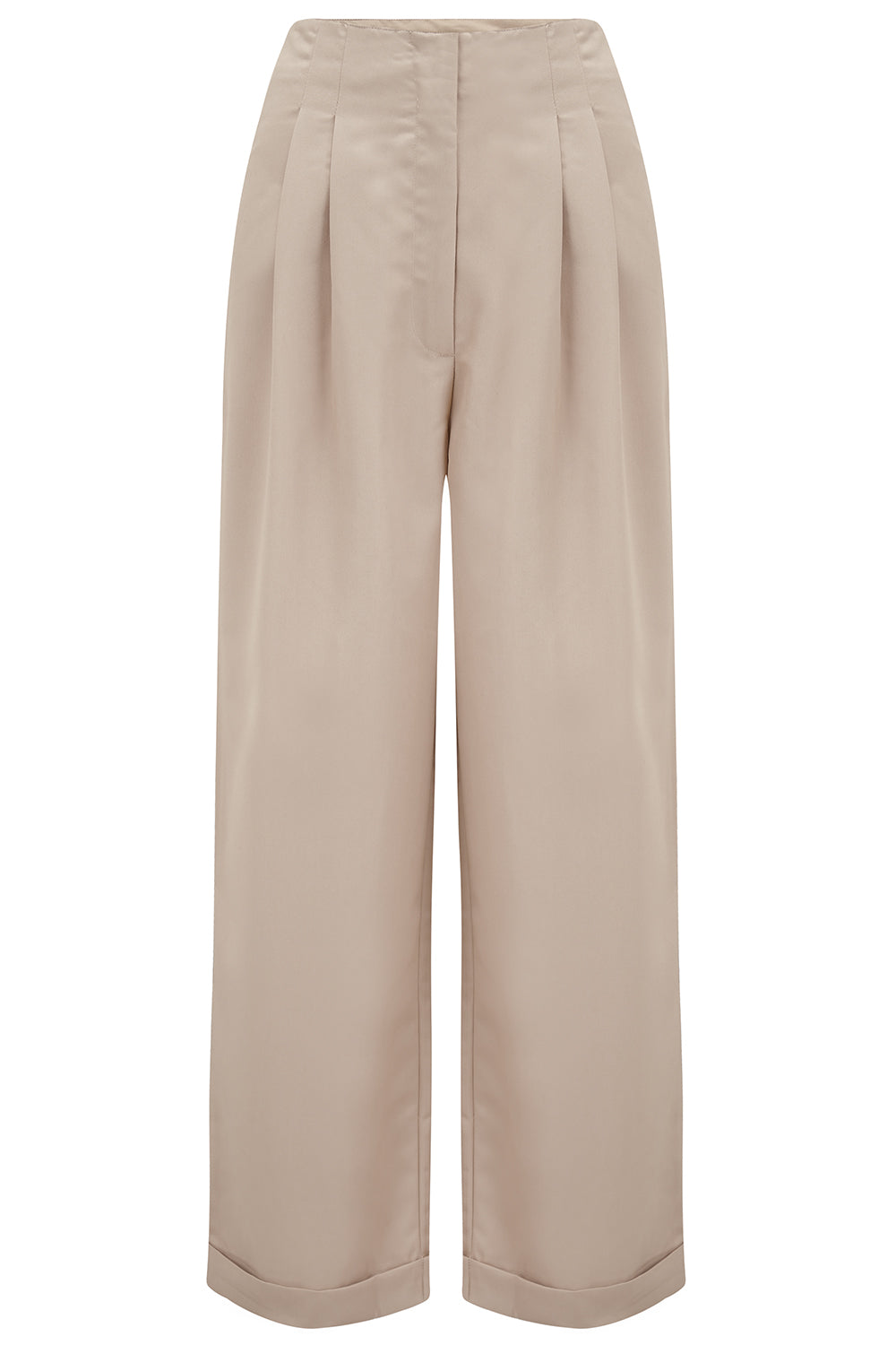 1940s Swing Pants & Sailor Trousers- Wide Leg, High Waist Audrey Tailored Trousers  in Stone  Perfectly Authentic 1940s Vintage Inspired Style £60.00 AT vintagedancer.com