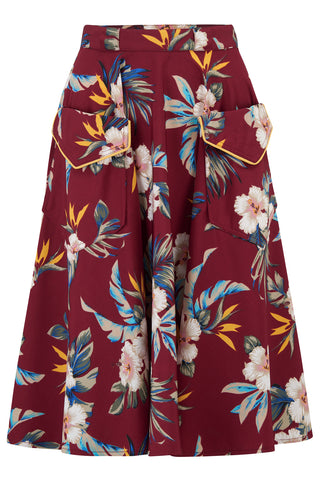 """Swing Skirt"" with Pockets in Wine Hawaiian Print, Authentic 1950s Tiki Vintage Style"