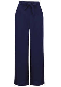 "The Seamstress Of Bloomsbury ""Winnie"" Loose Fit Wide Leg Trousers in Navy, Authentic 1940s Style - RocknRomance Clothing"