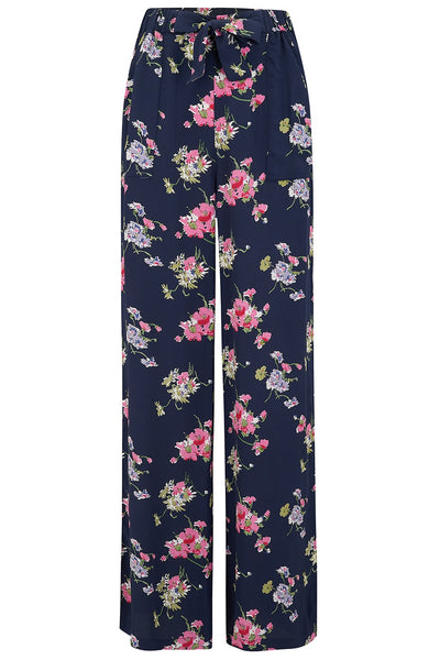 "The Seamstress Of Bloomsbury ""Winnie"" Wide Leg Loose Fit Trousers in Navy Mayflower Print, Classic 1940s Vintage Style - RocknRomance Clothing"