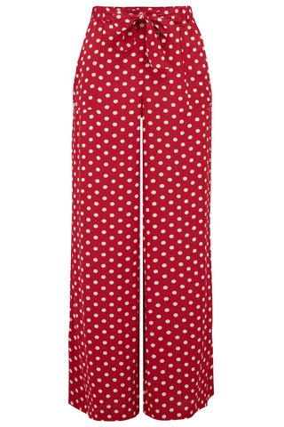 "The Seamstress Of Bloomsbury ""Winnie"" Wide Leg Loose Fit Trousers in Red Polka Dot, Authentic 1940s Vintage Style - RocknRomance Clothing"